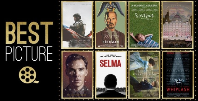 American Sniper, Birdman, Boyhood, The Grand Budapest Hotel, The Imitation Game, Selma, The Theory of Everything and Whiplash face off for the most coveted award at the Oscars.