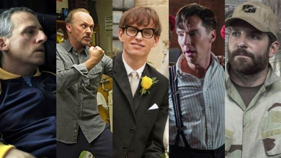 Steve Carell, Michael Keaton, Eddie Redmayne, Benedict Cumberbatch and Bradley Cooper face off for the best actor crown. Who will win?